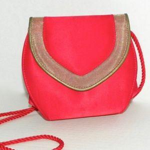 VTG 80s Red & Gold Satin Shoulder Bag Pouch Disco!